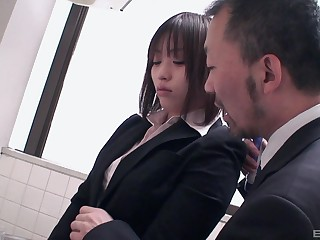 Brunette Asian in along to bathroom gets groped by a businessman