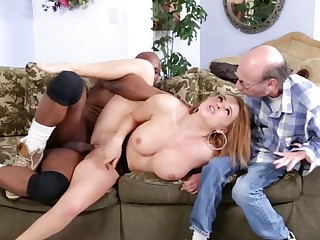 Hot shrew is in a cuckold interracial video, getting fucked well
